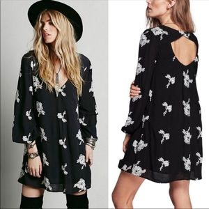Free people black and white floral dress mini
